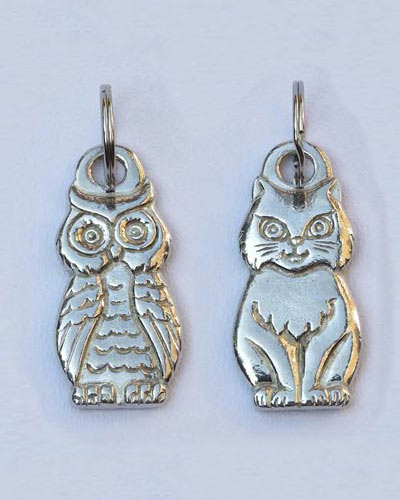 Owl and pussy cat key ring