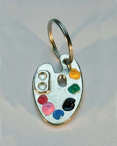Pewter palette keyring coloured